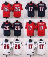 Sewing Stitch - Drop Shipping Texans Men s Elite Brock Osweiler Lamar Miller Stitched Sewed Jerseys Red White Blue Mix Order Accept