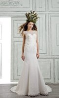 bella shirts - BELLA BRIDE Mermaid Lace Wedding Dresses Sleeveless Detachable Train Sweetheart Neckline Applique Bridal Gowns Custom Made