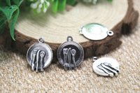 antique dinner plates - 20pcs Dinner Plate Charms Antique Tibetan silver Dinner Plate Charms pendants x21mm