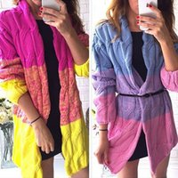 Wholesale Hot Sale Womens Lady Loose Long Sleeve Cable Knitted Chunky Cardigan Sweater Cape Shawl