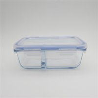 Wholesale 2016 new style heat resistant glass food storage container with divider ml
