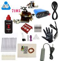 achat en gros de tattoo machine kit-Un débutant bon marché Kit de tatouage complet Machine à tatouer rotatif Aiguille noire Power Pedal Needles Grip tips