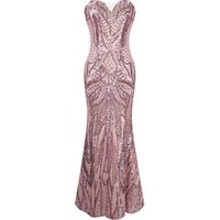 Wholesale Sweetheart Paillette Sleeveless Prom Dresses - 2016 New Arrival Angel-fashions Women Sequins Notched Strapless Paillette Column Sheath Floor Length Party Dresses Evening Prom A-212PK