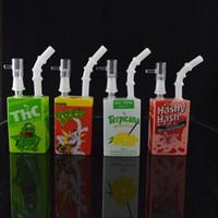 Bongs en verre Hit Man Boîte hameçon bong Plateformes pétrolières Tubes d'eau en verre Cigarettes pour fumer Shisha 2 Fonction 14 mm hookah