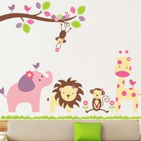 Wholesale 2016 New Stylish Zoo Animals Paradise Mural Removable Vinyl Wall Stickers Art Decal Home Decor Cartoon Background Wallpaper