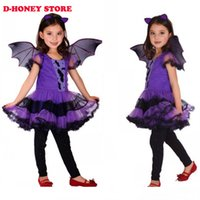 bat girl costume - Fancy Masquerade Party Bat Girl Costume Children Cosplay Dance Dress Costumes for Kids Purple Halloween Clothing Lovely Dresses