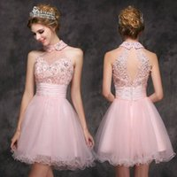 baby club - High Neck Homecoming Dress Short Mini Baby Pink Tulle Gown Crystals Shiny Party Dress OPen Back Cheap Sleeveless Little Prom Wear Charming