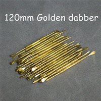 Wholesale 120mm Gold stainless steel Dabber Tool Jars Dab Wax Container Tools Wax Dabber Tools Dry Herb vaporizer pen dabber tool