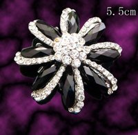 Women's asian wedding pictures - fashion woman Black and white flower Zinc alloy crystal rhinestone brooch jewelry pictures colors BH457