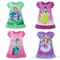 Wholesale My little Pony The Mermaid Frozen dresses baby girls pajamas nightgown Cotton Ruffle hem extra comfy clothes Kids clothing E1189