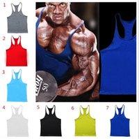 Wholesale 20pcs colors Cotton Stringer Bodybuilding Equipment Fitness Gym Tank Top shirt Solid Singlet Y Back Sport clothes Vest D948