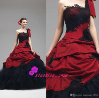 Wholesale Vintage Gothic Victorian Wedding Dresses with One Shoulder Dark Red and Black Lace Tiers Tulle Halloween Corset Long Bridal Ball Gowns