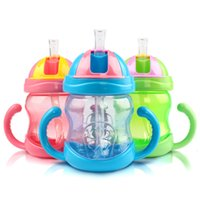 Wholesale 1 PC Toddler Infant Newborn Baby Cup Handle Children Learn Drinking Straw Bottle Sippy Cup ml NEW