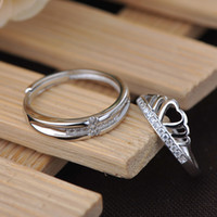 Wholesale 2016 new arrival silver diamond couple rings sizes crown adjustable fashion wedding engagement lovers ring