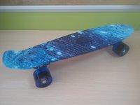 Wholesale 22 inch Mini Cruiser Plastic Skateboard Retro Longboard Blue starry sky Skateboard small fish board for Boys Girls