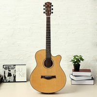 Wholesale Hot High quality grade Mic Acoustic Electric Guitar Amari AM C Inch Cutaway Spruce Solid Top Folk Drop Ship Musical Instruments EXP16