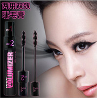 Wholesale and good Black Long Thick Curl Eyelashes Extension Liquid D Fiber Mascara Waterproof Eyelash to cream in two layer