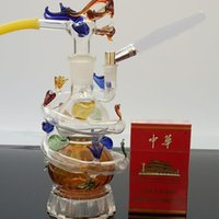 atmospheric water - Atmospheric luxury Panlong thick glass Hookah color style random delivery Water pipes glass bongs glass Hookahs smoking pipe