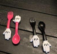 Wholesale Baby Minnie Mouse Spoon Fork Set Measuring SPOON Set Flatware Kitchen Fork Spoon Set Utensil Baby Fun Meal LJJK572