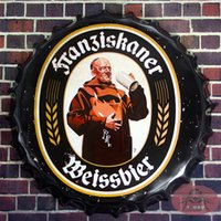 antique round wall plaque - Round Beer signs Bottle Cap Franziskaner Weissbier Tin Sign Rustic Wall Plaque Garage Bar Diner cm RM