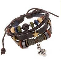 Wholesale The new bracelet beads leather bracelet Retro bracelet with alloy notes leather bracelet