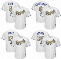 Wholesale 2016 New Material Kansas City Royals Jersey Hosmer Moustakas Gordon jersey World Series Champions Gold Cool Base Baseball Jersey