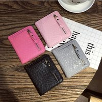 bifold wallet pattern - Short Wallets holders Women ladies Crocodile pattern PU Leather Bifold wallets Coin and Credit card holders packet Wallets top fashion