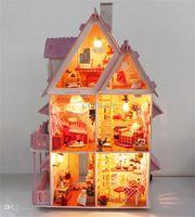 Wholesale Hot Sunshine Alice Pink DIY Wooden Miniatura Doll House Furniture Handmade D Miniature Dollhouse Toys Gits casa de boneca