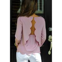 Wholesale Women Sexy Backless Double Burning Flower Chiffon Shirt T shirt Hollow Wavy Edge Plus Size