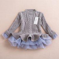 achat en gros de robe pull en coton gros-Kids Girls Tricoté Sweater Robe Pulls avec dentelle Shrugs Robes Chandail Crochet Girls pour Automne Hiver Vente en gros