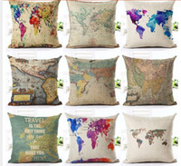 Wholesale 18 inches Vintage Style Cushion Cover world map Pattern Cotton Linen Pillow Cover Cushion Cover PillowCase Home Decor