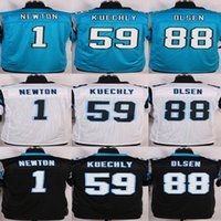 Wholesale Cheap Stitched NIK football Cam Newton Luke Kuechly Greg Olsen Blue Black White elite Jerseys