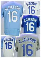 Wholesale Cheap Mens Bo Jackson Baseball Jersey New Kansas City Baseball Jerseys Stitched Logo Blue Grey White Size S XL