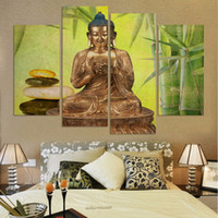 bamboo interior decoration - FREE SHUPPING Large Size Buddha Canvas Painting for interior Room Decoration Bamboo and stone unframed FX023