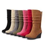 Vender como pan caliente nuevo otoño botas de las mujeres los medios cargadores oculta rodilla Zapatos Cuñas Zapatos otoño Señora femenina del arco del Rhinestone Sprimg Plataforma FASHI