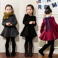 Wholesale 2017 Winter New Hot Sale Good quality Girls Dresses Sweet Autumn Winter Long sleeve Children Bowknot Dress For Party Kids Clothing MC0382