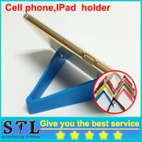Wholesale 2016 Universal CellPhone Stand iphone Brackets Foldable For iPhone Samsung Galaxy HTC Tablet PC V Shape Mount For Ipad Fast Shipping