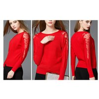 acrylic custom works - A032 Women Pullover Sweater Knitwear Hollow Out Lace Sleeve Autumn Custom Fashion Tops Knitted Women Clothing