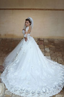 Wholesale Wedding dress long sleeves sheer top tulle layers detachable train d flowers long wedding bridal gown with long sleeves