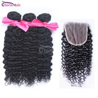 Wholesale Cheap Curly Peruvian Hair Bundles with Closure Bellahair Raw Peruvian Afro Kinky Curly Human Hair Weave with Top Closures Packaged