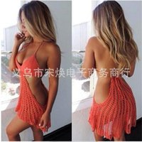 bea dress - 2016 Summer The Explosion Knitting Camisole Back Dress Manual Hollow Out Sandy Bea Single Triangle Cover Up Goods In Stock Acrylic Fibres