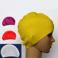Wholesale Water Drop Swimming Cap Lady Long Hair Big Size Silicone Swim Caps for Wome20 Pieces DHL