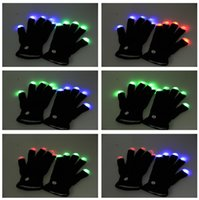 Wholesale 2016 Halloween Christmas LED flash gloves party glow gloves Concert noctilucent luminous gloves finger Flash gifts J082004 DHL FREESHIP