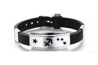 Wholesale Fashion Jewelry Genuine Silicone Stainless Steel Bracelets Constellation Carve Bangle Capricorn Sagittarius Virgo Pisces