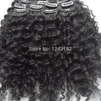 Wholesale 2016 HOT sale Human Hair clip in extensions Grade A unprocessed virgin brazilian deep curly clip in extensions G