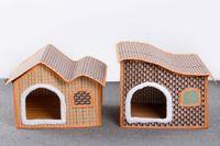 Fuentes del perro muelles Baratos-Primavera y verano perros casa de la estera nido de techo nido lugar relleno proporcionar suministros para mascotas puede unpick y lavar al por mayor envío gratuito HK79