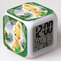 bell digital clock - Tinker Bell Fairy Figure Desk Clock LED Alarm Electric Clock Kid infant Cartoon Clocks Home Decoration Girl Birthday Gift with Boxes Package