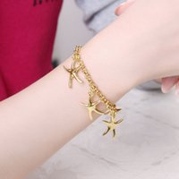 Wholesale 2016 New Ladies Bracelet Gold plated Bracelet cheap and beautiful girl does not fade Nickle Antiallergic Fashion Romance Starfish Bracelet