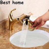 Wholesale contemporary thermostatic faucet copper material pull out faucet with hot cold water in kitchen faucet bathroom faucet luxury
