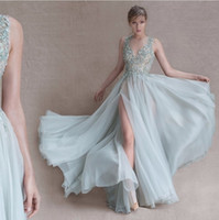 Reference Images A-Line Scoop Fresh 2017 Mint Green Prom Dresses With Delicate Appliques Sexy Depth V-neck Insulated Hose Strap Long Prom Dresses Floor Length Evening Dre